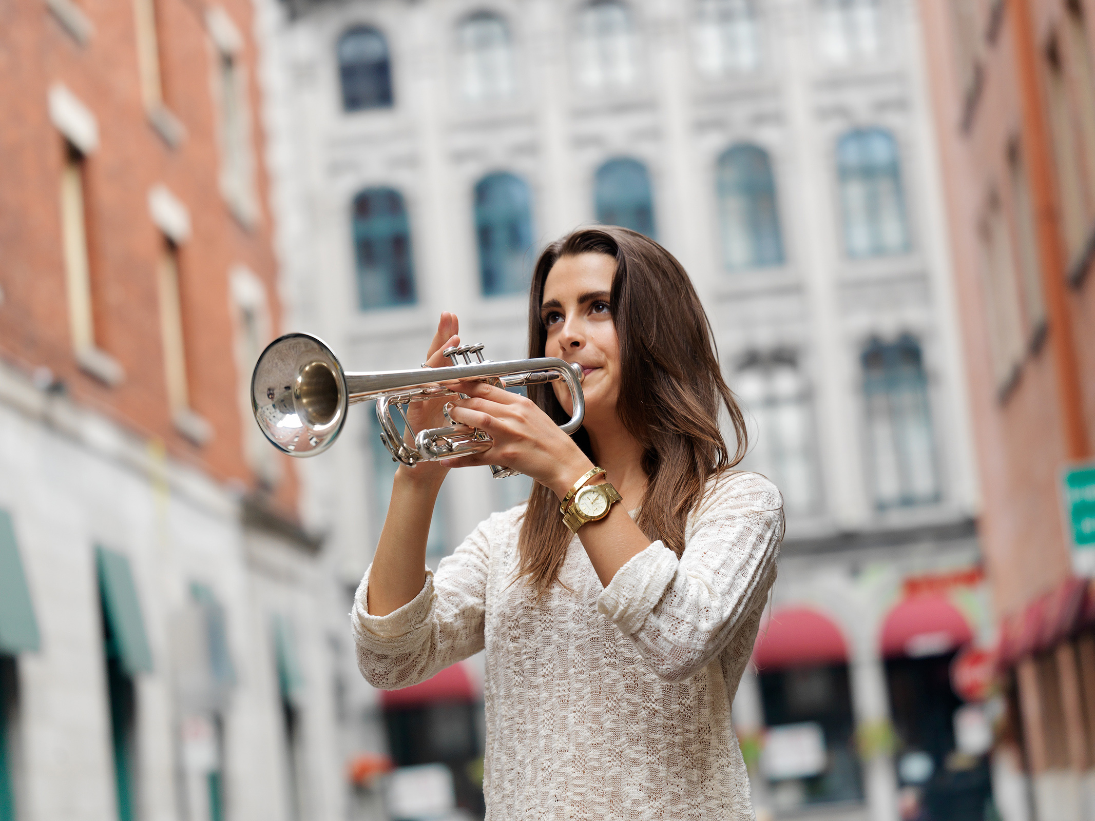Editorial photography project for Sarah Belle Reid, a trumpet player and performance artist in Montreal