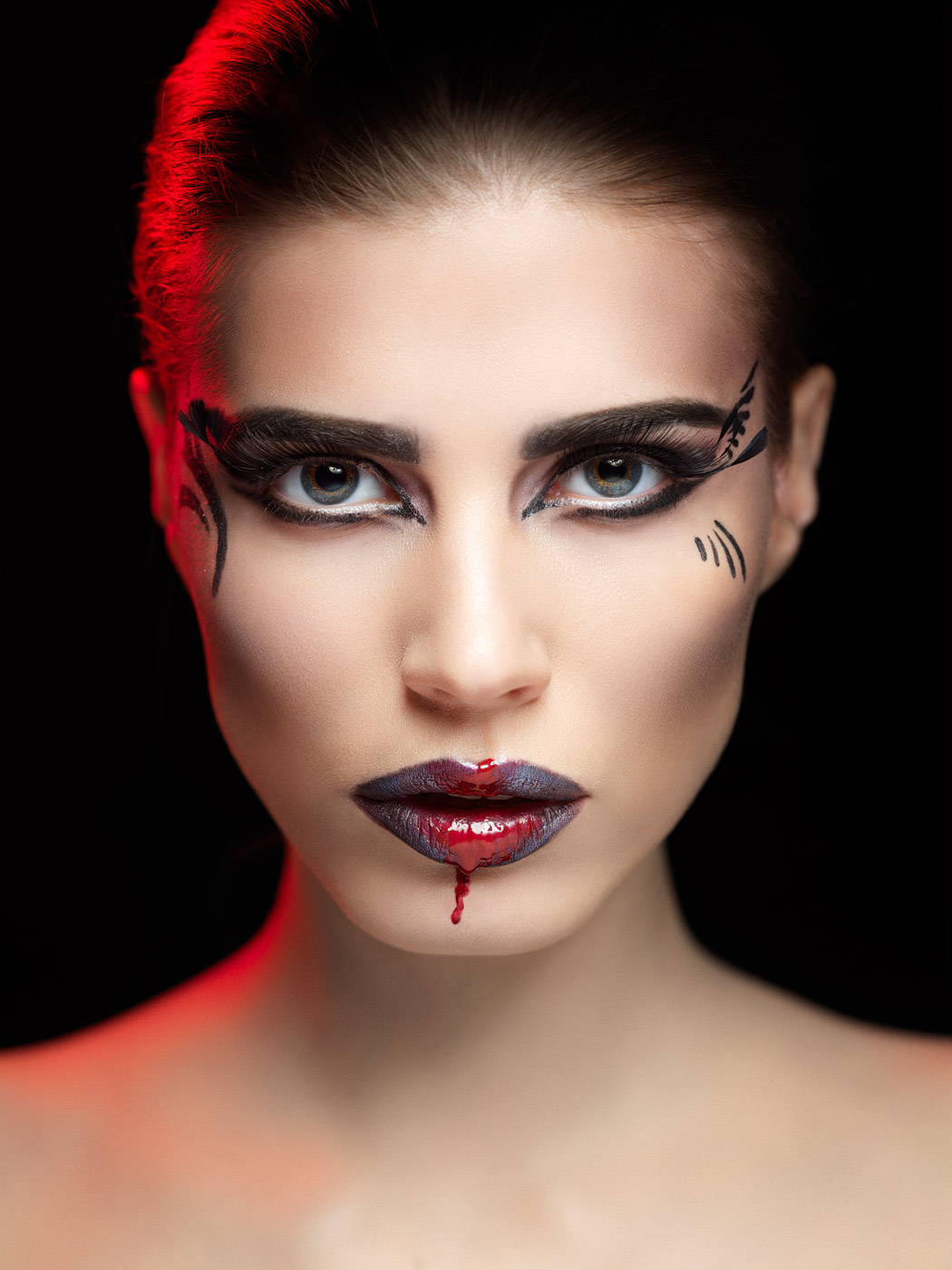 Beauty Portrait Of A Young Beautiful Teen Girl Stock: Bloody Lips Makeup / Beauty Portrait Photography