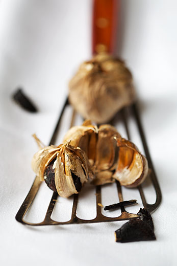 Auberge Saint-Gabriel, black garlic, studio food photography in Montreal, Canada