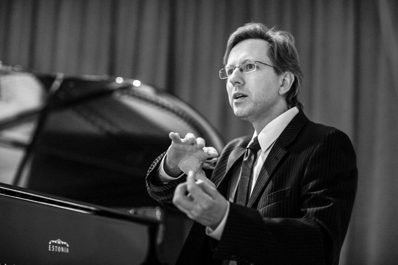 Dr. Indrek Laul, President of Estonia Pianos at Montreal store PianoVertu, photographed by Montreal studio photographer Vadim Daniel